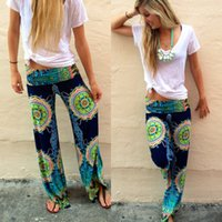 Wholesale Legging Plus Size Women Wholesale - Wholesale-Floral Casual Wide Leg Long Harem Pants High Waist Loose Elastic Waist Palazzo Trousers Plus Size New beach pants