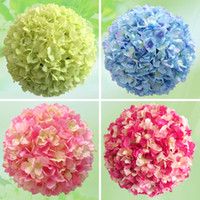 Wholesale Satin Kissing Balls - 25cm Artificial Silk Hydrangea Flower Balls Wedding Party Pomander Bouquet Home Decoration Ornament Kissing Ball Decor