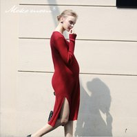 Wholesale Knitted Dress Pregnant - 2017 New Style Fashion and Comfortable Knitted Long Dress Pregnant Woman Draped Autumn Skirt Spring Sweater Long Sleeve Clothes
