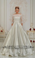 Wholesale See Court Train - Off the Shoulder Long Sleeves Satin Wedding Gowns Vintage Lace WEdding Dresses See through Lace Back Bride Gown