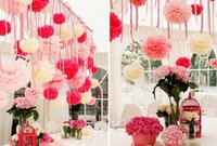 Wholesale tissue paper pompoms wholesale - Paper Pompoms Tissue Paper Pom Poms Wedding Party Baby Living Room Decoration Home Pompoms Wedding Paper Garland Paper Flower Ball