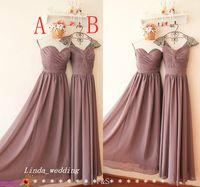Wholesale Mauve Dresses - Popular Mauve Bridesmaid Dress 2 Styles Formal Long Chiffon Maid of Honor Dress Wedding Party Gown