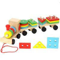 Wholesale Baby Trailers - Baby Toys Kids Trailer Wooden Train Vehicle Blocks Geometry Colour Congnitive Blocks Child Education Birthday Christmas Gift