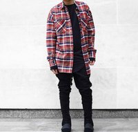 Wholesale Men S Plaid Flannel Shirt - Wholesale-2016 US Hip Hop Most popular justin bieber fear of god fog Men unisex flannel Long-sleeved plaid oversized dress shirt in red