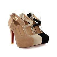 Wholesale Black Faux Suede Platform Pumps - Fashion Women's Faux Suede Ankle Strap Party Shoes Sexy Platform High Heel Round Toes Pumps S101 US Size 4 -10.5