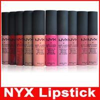 Wholesale Vintage Lips - New NYX Soft Matte Lip Cream Lip Gloss Lipstick Vintage Long Lasting NYX Lip Gloss 12 colors