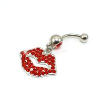 Wholesale Fix Buttons - D0047 lip style piercing body jewelry , red color Belly Button Ring , Fixing BELLY BAR(10PCS LOT) JFC-1216