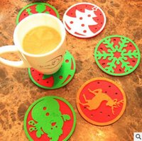 Wholesale Snowflake Decoration Wholesale - Christmas Snowflake Mat Xmas Non-Woven Reindeer Tree Cup Mat Pad Christmas Decorations Festival Party Ornament Dinner Party Dish Tray Pad