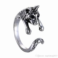Wholesale Tiger Ring Band - 12pcs lot Retro Punk Antique Animal Ring for Women Men Fashion Jewelry ,Tiger Openings Ring (Antiqued Silver Bronze Color)