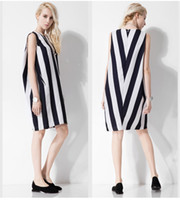 Wholesale Vertical Stripe Chiffon - 2016 new thin cotton in the long section of the European high-end vertical stripe sleeveless dress skirt