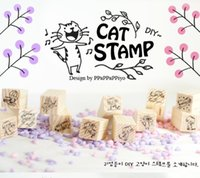 Wholesale New Wooden Cat Stamp - 12 pcs set Creative New cute Cat design wooden stamp   Decorative DIY funny work   office and school supplies   Wholesale