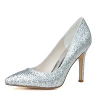 Wholesale High Flash Point - 0608-14 Simple Fashion High Heels Wedding Dresses Flash material Pointed Toe For Women Party Prom Evening Occasion Shoes High Quality