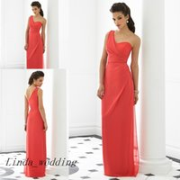 Wholesale Coral Colour Bridesmaid Dresses - Free Shipping Coral Colour Bridesmaid Dresses 2016 New One Shoulder Chiffon Long Maid of Honor Dress Wedding Party Gown