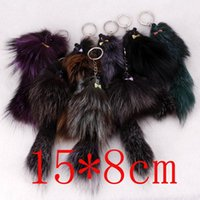 Wholesale Tail Keychain Fashion - hot wholesale Fox Fur Tail mouse Keychain Fox Tail Tassel Bag Handbag Pendant fashion Accessory key rings free shipping