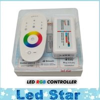 Wholesale Led Rf Remote Bulb - DC12-24A 18A RGB led controller 2.4G touch screen RF remote control for led strip bulb downlight