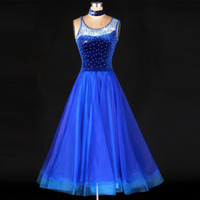 Wholesale Tango Dresses Competition - Standard Ballroom Dance Competition Dresses Rhinestone Marine Costumes For Women Blue Tango Waltz Dresses Modern Dance Dress