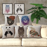 45cm * 45cm peint à la main Couleur animale Panda Bear Lion Owl Loup Cotton Linen Pillow Case Home Kids Chambre décoratifs Taie 240437