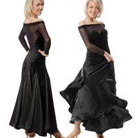 Wholesale black latin dance dress resale online - 2019 New Adult Girl Ballroom Dance Dress Women Modern Waltz Tango Standard Competition Dance Dress Black Mesh Stitching Printed Velvet Dress