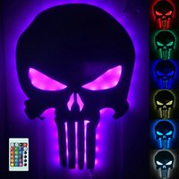 Wholesale Switch Control Wall - Wholesale- 1Piece Punisher Skull Color Changing Wall Light Remote Controlled Mirror Plus Eclipse Room Lamp Halloween Decor Night Light