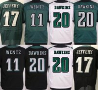 Wholesale Black Eagle Order - Cheap Men#20 Brian Dawkins 17 Alshon Jeffery New#11 Carson Wentz Stitched Eagle Elite Jerseys Black Green White Mixed order