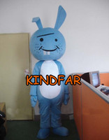 Wholesale Blue Bugs Bunny Mascot Costume Rabbit Hare Adult Size Fancy Dress Cartoon Outfit Suit
