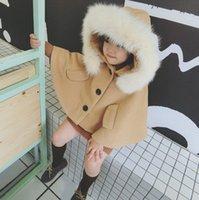 Wholesale Girls Fox Fur Coats - Kids cloaks girls faux fur shawl wool hooded poncho children fox fleece cape coat winter jacket children warm princess outwear R0038