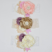Wholesale Shabby Lace - Vintage Lace Satin Headband Matching Shabby Chic Floral Rosettes Feathers Pearl Newborn Toddler Photography Props 12pcs lot QueenBaby