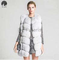 Wholesale Ladies Genuine Fur Jackets - Wholesale-2016 Fox Fur Vest Women New Winter Vest Genuine Leather Fox Fur Vests Woman Fur Coat Jacket Female Ladies Fur Coats De Polaris