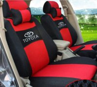 Wholesale Cars Toyota Vios - Free shipping Embroidery logo Car Seat Cover Front&Rear 5 Seat For TOYOTA Corolla Vios Yaris Prius Four Seasons