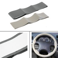 Wholesale steering wheel cover leather thread - Gray Beige Black DIY PU Leather Cowhide Car Steering Wheel Cover Case Clothes With Needles and Thread