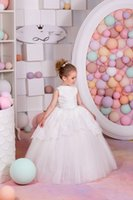 Wholesale 3t Holiday Dresses - 2016 New Arrival Birthday Holiday Wedding Party Bridesmaid Ivory Tulle Lace Flower Girl Dresses