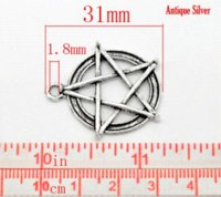 Wholesale Per Gold Necklace - Retail Antique Silver Pentagram Round Charms Pendants 31x28mm,sold per pack of 20 charmed jewelry charm collar