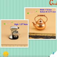 Wholesale Metal Dollhouses - 1:12 Scale Lot 2pcs Miniatures Stand Mixer n Brass Kettle Dollhouse Kitchen Cookware Toys Room Decor  QQ_dollhouse Toy Gift Doll House Room
