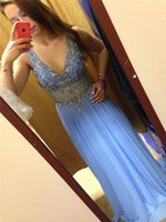 Wholesale Tulle Jeweled Long Dress - Long Prom Dress 2016 Sparkly Beaded Illusion Top V Neck Blue Jeweled Sheer Straps Waist Floor Length Chiffon Prom Gown Onlline