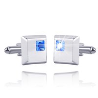 Wholesale Blue Crystal Cufflinks - Men's Classic Shirts French Cufflinks Groom Wedding Business Shirt Fashion Square Blue Crystal Cuff Links 0903869-5