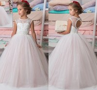 Wholesale Champagne Sparkly Dresses - Sparkly Lace Beaded Arabic 2017 Flower Girl Dresses Crew Ball Gown Vintage Child Dresses Beautiful Flower Girl Wedding Dresses F0691