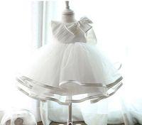 Wholesale Baptism Gown Dress - retail 2016 Newborn baby Baptism Dress Christening Gown Girls' party Infant Princess wedding dress baby clothing sleeveless veil Tutu dress