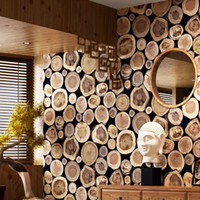 Wholesale texture wall paper roll - Modern Thick 3D Wood Log Texture Embossed PVC Waterproof Wall Paper Roll Living Room Desktop Wallpaper Mural Papel De Parede