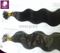 Wholesale Stick Virgin Hair - body wave stick I tip hair extensions unprocessed remy Brazilian Virgin hair cheap sunny grace hair product