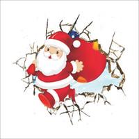 Wholesale Christmas Window Decals - Merry Christmas Xmas Santa Claus cartoon cute Wall Stickers Window Home DIY Decal Decor free shipping