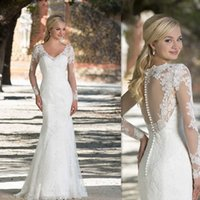 lace sheath wedding dresses 2016 sheer v neck long illusion sleeves open back bridal gowns appliques designer discount gorgeous dress in bulk price