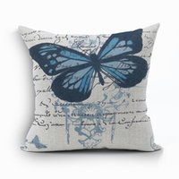 Wholesale Vintage Butterfly Cushion - beautiful butterfly cushion cover shabby chic home decor vintage cojines nordic decoration almofadas for home office sofa chair