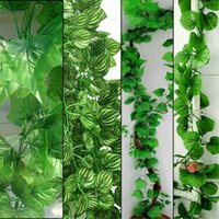 Wholesale Wholesale Fake Grapes - 230cm Long 4 styles Artificial Plants Green Ivy Leaves Artificial Grape Vine Fake Foliage Leaves Home Wedding Decoration