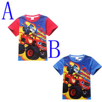 Wholesale Cartoon Shirts For Girls - Blaze And The Monster Machines Car Kids T-shirts 2016 New Cartoon Anime Girls Boys T Shirt For Kids Clothes Summer Style Children's Clothing