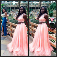 Wholesale school girl prom dress resale online - Sexy Pink Two Piece Prom Dresses African Black Girl School Party Dress Vestido de Festa Longo Crystal Bead Long Evening Dress