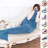 Wholesale Wholesale Knit Baby Blankets - Mermaid Baby Sleeping Bags 90*50cm Knitted Kids Mermaid Blankets Crochet Mermaid Tail Blankets 16 Colors 100pcs OOA2885