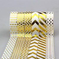 Wholesale Printed Paper Tape - Wholesale-NEW 6X 15mm * 10m Tape Gold Foil Printing For Christmas And Halloween Set DIY Sticky Deco Masking Japanese Washi Tape Paper Lot