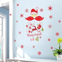 Wholesale snowflake vinyl window stickers - Removable Snowflakes Merry Christmawindow glass decorative wall decals Deer Gifts Vinyl wall sticker Decals Window Shop decor