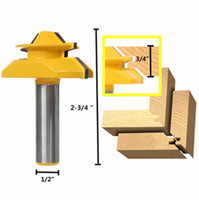 Wholesale Tools For Woodworking - 1PC Small Lock Miter Wood Router Bit Anti-kickback 45 Degree 1 2 inch Stock 1 2 inch Shank Tenon Cutter for Woodworking Tools Parts