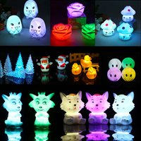 Wholesale Small Color Changing Led Lights - Night Lamp New Wedding Party Decor 7 Color Change Lovely Led Night Lamp Light Kid Gift Toy Crystal Square Small Led Recessed Lighting
